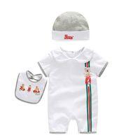 Wholesale christmas bodysuits - summer 2018 baby bodysuits 0-24M short sleeve body babies newborn baby girl boy clothing cotton infant jumpsuit cartoon costume