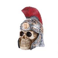 ingrosso ornamenti bar-Halloween Resin Human Head Skull con casco scrivania Ornamento Vintage Home Craft Decorazione per Bar Pub Ristorante Home Decor