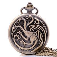 antiguo bolsillo de mujer visto al por mayor-Vintage Antique House Targaryen Blood and Fire Juego de Tronos Hombres Mujeres Reloj de bolsillo de cuarzo Collar cadena relogio de bolso
