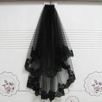 long voile noir achat en gros de-2018 unique nouveauté magnifique côté dentelle noire en soie double couche voile de mariage voile de mariée halloween sorcière bandeau tulle voile cato