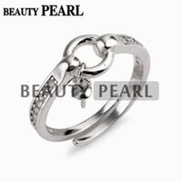 mücevher ayarları yüzük toptan satış-Küçük Daire Yüzük Ayarları 925 Ayar Gümüş Zirkonlar Takı Bulguları Dangle Inci Yüzük Dağı 5 Parça