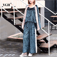 Wholesale korean velvet dress women - VGH 2018 Autumn Velvet Patchwork Women Pajamas Oversize Fashion Big Size Long Sleeves Female Night Home Korean Clothes New