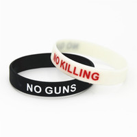 Wholesale bead gun resale online - 1PC NO GUNS NO KILLING Silicone Wristbands Mourning Shooting Accident Against Guns racelets Bangles Adult Gifts SH187
