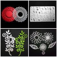 Wholesale Flowers Scrapbook - Metal Scrapbook DIY Mold Branch Round Flower Number Letter Shape Embossed Cut Dies Anti Wear Template Silver 6 8ws4 B