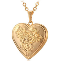 Wholesale silver plated photo frames wholesale - U7 Photo Frame Memory Locket Pendant Necklace Silver Gold Color Romantic Love Heart Vintage Rose Flower Jewelry Women Gift P326