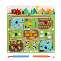 Wholesale wooden toys maze - Farm Animal Magnetic Marble Maze Wooden Board Magnet Pen Driving Labyrinth Fine Motor Skills Kids Children Learning Toys