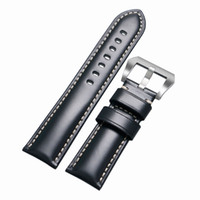 Wholesale replacement spring - Watchband 24 26mm Black   Brown   Coffee Pin Buckle Durable Cowhide Genuine Leather Replacement Watches Strap + 2 Spring Bars