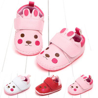 ingrosso scarpe da prua dentellare-Caldo Inverno Bambino Kids Girl Cotton Crib Pink Rabbit Ears Shoes Toddler Girls Soft Sole Prewalkers