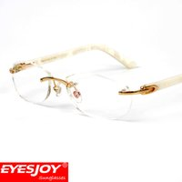 Wholesale Waterproof Business Metal Case Box - White Aceticacid Frameless Eyeglasses 18K Gold Metal Frame Women Business Myopic Glasses Read Eyeglasses With Red Box and Accessories