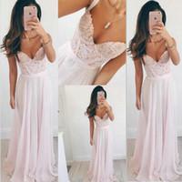 ingrosso nuovi abiti da marina-abiti da ballo prom dresses long Nuovo stile chiffon rosa pizzo spalle con scollo a V abiti da damigella d'onore CK030
