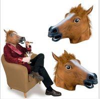 ingrosso maschera a cavallo senza lattice-Super vendita calda Creepy Horse Mask testa Costume di Halloween Teatro Prop Novità in lattice di gomma animale divertente cavallo maschera spedizione gratuita