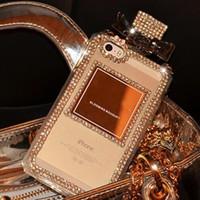 bouteilles de parfum en strass achat en gros de-Cas de téléphone de bouteille de parfum de Rhinestone pour l'iphone X XR XS MAX 8 7 6 6 s plus 5S S9 S10 NOTE 9 10 couverture en TPU souple Diamon Coque Shell String GSZ189
