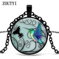 кулоны колибри оптовых-2018/ hot sale, blue hummingbird necklace hummingbird pendant glass bird art glass cabochon necklace.