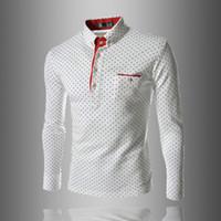 punktknöpfe großhandel-Herren Poloshirt Marken Männlichen Langarm Mode Lässig Slim Polka Dot Tasche Taste Polos Männer Trikots