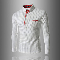 ingrosso polo shirt tasca uomini-Mens Polo Shirt Marche manica lunga maschile Moda Casual Slim Polka Dot Pocket Button Polo uomini maglie