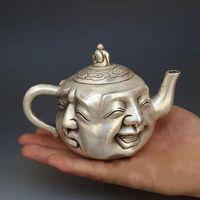 coleção feliz venda por atacado-Marcado China Prata Xi Nu Ai Le Feliz Laugh Maitreya Buda Teakettle Collection