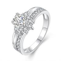 anillos de compromiso imitacion oro blanco al por mayor-Anillos románticos para mujeres imitación oro blanco embutido análogo anillo de diamantes hermosa novia anillo de amor de la boda anillo de compromiso