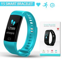 Wholesale oxygen black - Y5 Smart Bracelet Heart Rate with Fitness Tracker Step Counter Activity Monitor Band Blood Pressure Monitor Waterproof Watch for iPhone
