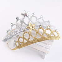 Wholesale baby birthday girl tiara - Girls crown headband Princess Tiaras Crown Gold Silver Headband Elastic Birthday Gift Photography Props Infant Baby Headband