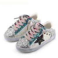 payet kız ayakkabıları toptan satış-ÇOCUKLAR Bebek Bebek Glittler Ayakkabı Kız Yıldız Beyaz Sneaker Boy Spor Ayakkabı Çocuk Çocuk Nedensel Trainer Pullu Düz 3 renk