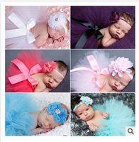 Wholesale Fancy Baby Headbands - Hot Sales Newborn Toddler Baby Girl Children's Tutu Skirts Dresses Headband set Fancy Costume Yarn Cute 13 Colors E628