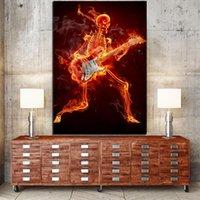 скелетные части оптовых-1 шт. холст Живопись гитара сжигание скелет череп плакаты стены искусства фотографии для гостиной домашнего декора
