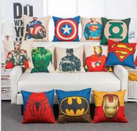 karikatür süpermen kapağı toptan satış-Superhero Avengers yastık kılıfı Marvels yastık kılıfı superman batman Baskılı Minder Kapak keten Yastık Kapak Karikatür Ev Tekstili