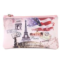 монеты эйфелевой башни оптовых-Women Coin Purse Artistic Pattern Eiffel Tower Key Phone Coin Purse Storage Bag Girls Wallet #C