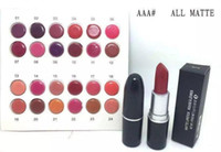 Wholesale wholesale name brands - New Brand Makeup Arrivals hot makeup matte lustre lipstick 3g with name 24 Different color(24 Pieces Lot)FREE SHIPPING