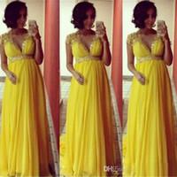 vestido largo de maternidad amarillo al por mayor-Brillantes mangas cortas amarillas Gasa Vestidos de noche largos para mujeres embarazadas de maternidad Fiesta formal Vestidos de baile Cuentas de imperio Marco de cristal Prom