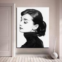 temps de vie achat en gros de-Cadre Peinture À L'huile De Bricolage Par Numéros Audrey Hepburn Photo Sur Toile Temps Inversé Image Pour Le Salon Salon Art