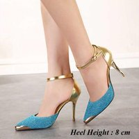 236173500e0d New Elegant Women Wedding Party High Heel Pumps Gold Blue Glitter Pointed  Toe Women Shoes Spring Sexy Soft Thin Heel Shoes