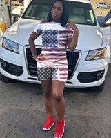 trajes de bandera al por mayor-2018 Bandera de EE. UU. Pantalones Cortos Traje 2 unids Chándales patrón de la bandera americana de manga corta camiseta pantalones cortos mujeres de las mujeres trajes Chándal
