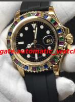 pulseiras de borracha diamantes venda por atacado-3 Estilo De Luxo Relógio De Pulso De Borracha Pulseira 40 MM Arco Íris Relógio De Diamante Relógios Dos Homens Mecânicos Automáticos Nova Chegada