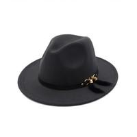 sombrero de plumas decoraciones al por mayor-Sombreros Fedora de fieltro de lana Pannama unisex con flecos de plumas Decoración Hombres Mujeres Ala ancha Jazz Sombrero Panamá Chapeau