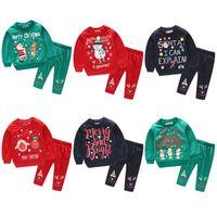Wholesale clothing sets claus online - 2pcs set Christams baby outfits boys girls Santa Claus snowman deer print Tops pants children Xmas Autumn kids pullover Clothing Set AA1220