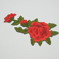 nakışlı çiçekler demir aplikler toptan satış-10 adet Işlemeli Çiçek Aplike Demir Başarmak On Patch Giyim kırmızı zanaat dikiş kaliteli