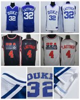 Uomo Duke Blue Devils College 32 Christian Laettner Jersey 1992 <b>USA Dream Team</b> 4 Christian Laettner Maglia da basket cucita