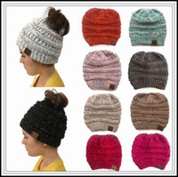 Wholesale hockey baseball caps - 10 Colors Winter Knitted CC Hats CC Knitted Beanies Fashion Winter Ponytail Hat Back Hole Caps Casual Beanies Outdoor Hats CCA10026 10pcs