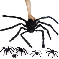 ingrosso grande trucco-New Halloween Orribile Big Black Furry Fake Spider Dimensioni 300 mm, 500 mm, 750 mm Creep Dolcetto o scherzetto Decorazione di Halloween