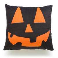 Wholesale linen letter cushions resale online - Halloween Pumpkin Trick or Treat English Letter Stripe Witch Sofa Cushion Pillowcase Decoration Linen Pillow Case