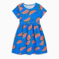 bebek parti elbisesi desenleri toptan satış-2018 Yeni Çocuk Elbise Bebek Kız Karpuz Baskılı Elbise Çocuk Kısa Kollu Kırmızı Desen Parti Prenses Elbiseler Bebek Giyim 18 M-6 yıl