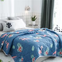Wholesale comforters for beds online - FullLove Summer Flamingo Print Bed Covers Comforters New King Size Plaid Blanket for Adults Bedding Quilt Home Textile