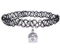 mujeres tatuajes encanto al por mayor-Retro Hippy Elasticidad Henna Tibetana Plata Cabeza de Buda Cruz Estrellas Sol Mano Herradura India Encanto Tatuaje Gargantilla Collar Para Las Mujeres joyería