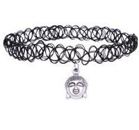 mulheres tatuagens venda por atacado-Retro Hippy Elasticidade Henna Tibetano Cabeça de Buda de Prata Cruz Estrelas Sol Mão Ferradura Índia Charme Tatuagem Gargantilha Colar Para As Mulheres de Jóias