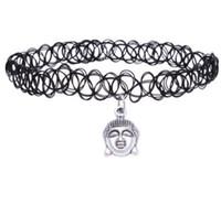 ingrosso donne di tatuaggi di fascino-Retro Hippy Elasticity Henna tibetano argento testa di Buddha croce stelle sole mano a ferro di cavallo India fascino tatuaggio collana girocollo per i monili delle donne