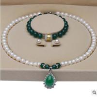 белые серьги из жемчуга оптовых- jewelry designer jewelry sets for women Pearl 9-10mm bright white freshwater pearl necklace bracelets earrings hot fashion