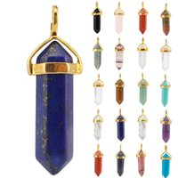 Wholesale 9mm stainless steel necklace - 17 Styles 39*9mm Bullet Hexagonal Point Gold Plated Necklace Healing Pendants Chockers Chakra Crystal Jewelry for Women Men