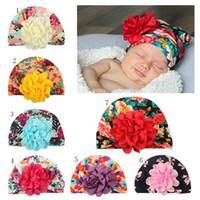hindistan çiçeği toptan satış-Bebek Fırfırlar çiçek şapka yenidoğan Çiçek baskı Şapkalar pamuk Çiçek Baskı Kapaklar 7 renkler bebek Çocuklar Hindistan kap Türban C4941