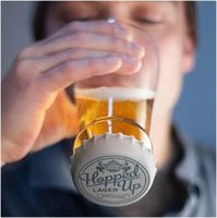 Wholesale wholesale caps china - Hopped Up Beer Glass Hopside Down Bottle Shaped Beer Mug with Silicone Cap for Home Party Beer Wine Whisky Drinking Glasses CCA9168 20pcs